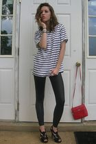 white vintage shirt - black Miley Cyrus & Max Azria leggings - black Damita K sh