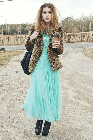 aquamarine vintage dress - black UrbanOG boots - brown UNIF jacket