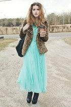 aquamarine vintage dress - black UrbanOG boots - brown UNIF jacket