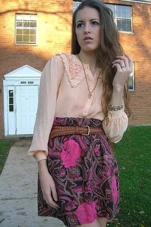 vintage blouse - vintage skirt - vintage belt - vintage purse - Fioni shoes - vi