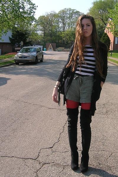 red dollar store tights - black Urbanogcom boots - white pinkish shirt