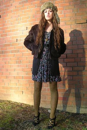 brown vintage jacket - black xhilaration cardigan - black vintage dress - gold C