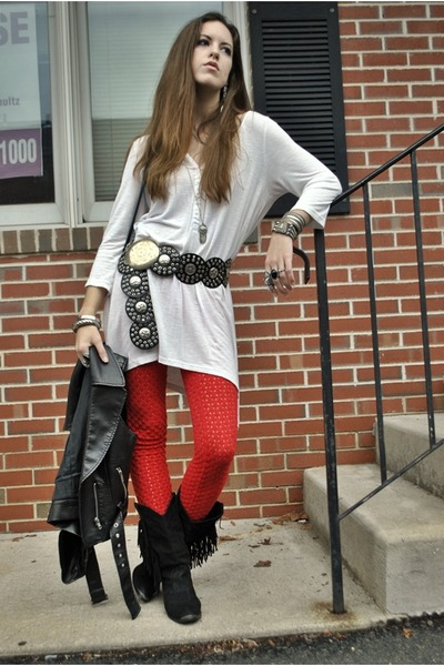 black vintage boots - red crochet free people leggings - white H&M shirt