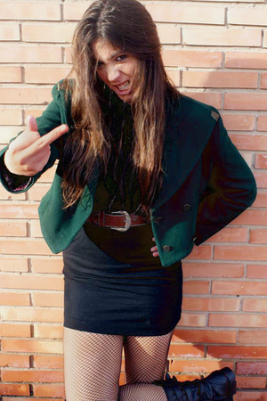 black H&M skirt - green vintage jacket - black Zara boots - brown vintage belt