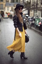 gold skirt - black jacket