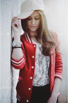 red bershka College jacket jacket - black new yorker leggings - white hm blouse