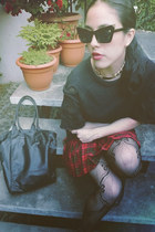 red plaid mini vintage skirt - black barroque Zara sweatshirt