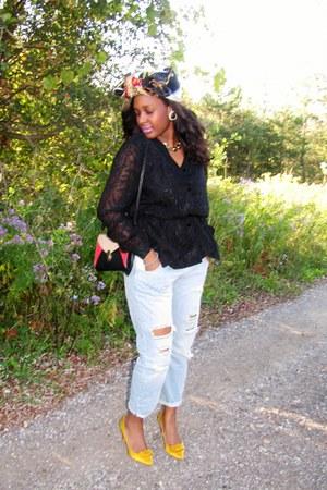 boyfriend Zara jeans - vintage blouse - yellow satin Zara heels