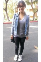 blue Forever21 jacket - black Forever21 leggings - black Forever21 bag