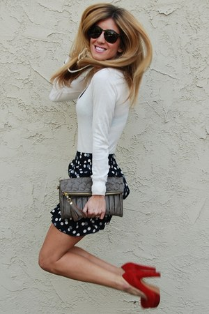 polka dot skirt Sway Chic skirt - ivory sweater Forever 21 sweater