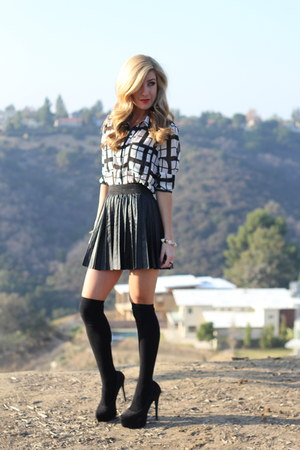 black storets skirt - white Forever 21 blouse