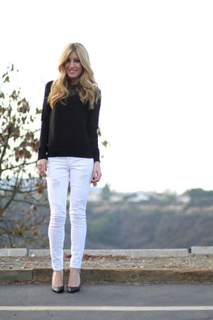 white Bebe jeans - black Zara sweater