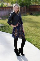 blue Target dress - black H&M jacket - black thrifted belt - black payless boots