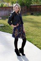 blue Target dress - black H&M jacket - black thrifted belt - black payless boots
