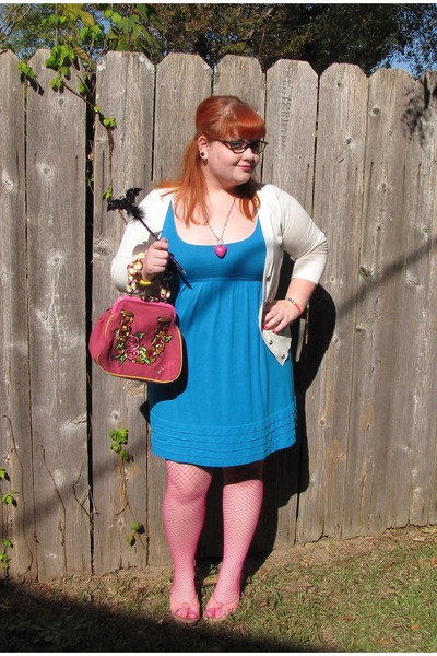 turquoise blue Forever 21 dress - hot pink fishnet tights