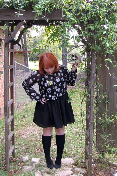 skull print top - black Target dress - black socks - black flats