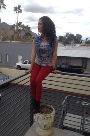 blue jean vest Forever 21 vest - red red joes jeans Joes Jeans jeans