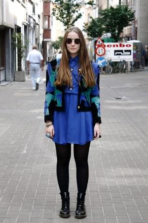 aquamarine H&M ring - black Dr Martens boots - blue Primark dress