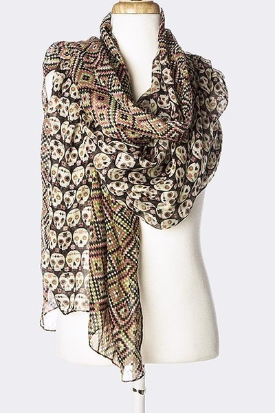 Leather and Sequins scarf