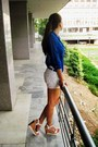 Blue-polyester-bershka-shirt-white-zara-shorts-blue-leather-hermes-belt