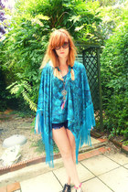 turquoise blue gifted fringed house of dereon top