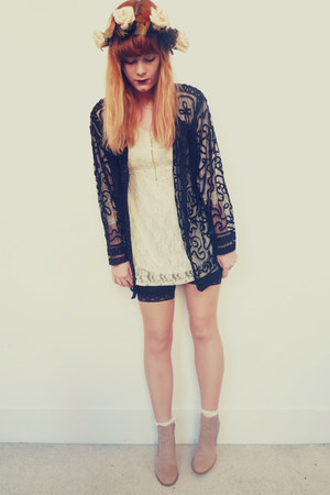 ivory lace OASAP dress - peach glitter H&amp;M boots - black vintage jacket