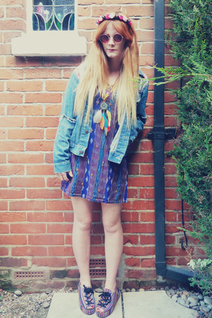 blue denim Waiste jacket - blue aztec dress
