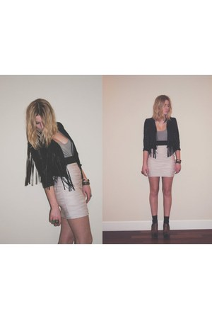 fringe H&M jacket - H&M skirt - sam edelman wedges