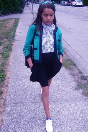 H&M accessories - joe fresh style sweater - joe fresh style blouse - David Bitto