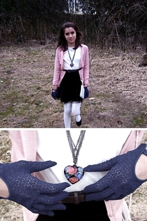 sweater - top - skirt - tights - gloves - necklace