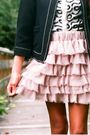 Black-pull-bear-jacket-white-h-m-cardigan-pink-zara-skirt-black-zara-shoes