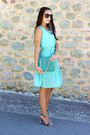 Turquoise-blue-chiffon-sammydress-dress-teal-chain-sammydress-purse
