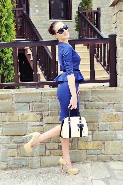 navy peplum dresslily dress - black Gucci sunglasses