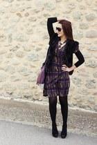 purple fringe bag - graphic dress - black Gucci sunglasses