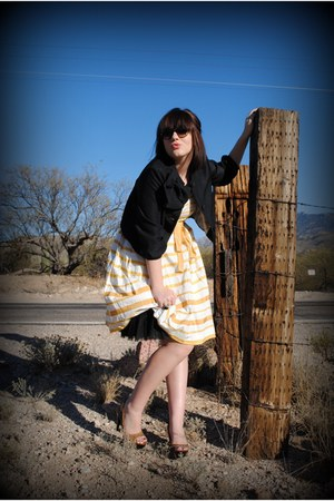 gold Anthropologie dress - black dior sunglasses - black Erin Fetherston cardiga