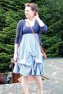 Blue-dress-blue-fox-cardigan-brown-flea-market-purse