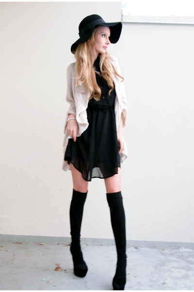 Accessorize hat - H&M dress - GINA TRICOT cardigan - Bianco heels