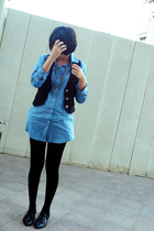blue na blouse - black na stockings - black na shoes - silver Forever 21 necklac