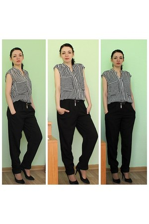 black shiffon Topshop blouse - black savage pants