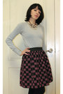 Silver-knitted-no-name-sweater-maroon-diy-skirt-gold-no-name-necklace