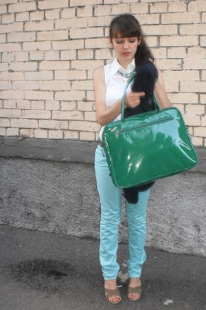 dark green faux leather Rosalita McGree bag - aquamarine cotton TBY jeans