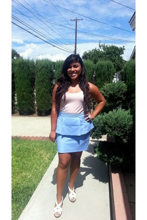 periwinkle Forever 21 skirt - light pink Old Navy top - white Payless wedges