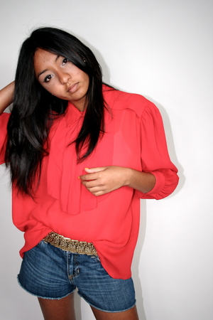 Red sheer blouse - Gold Belt