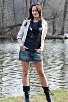 Topshop top - pull&bear jacket - pull&bear skirt - boots