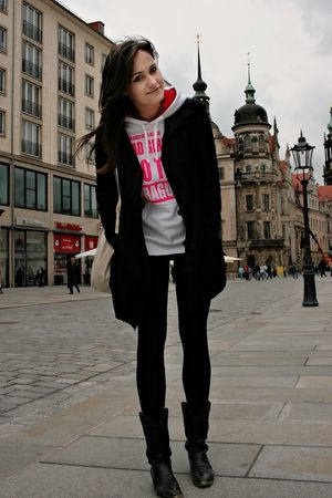 white Prague blazer - black Stradivarius coat - black Urban Outfitters boots - b