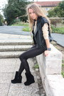 Black-boots-black-h-m-leggings-black-leather-vest-neutral-h-m-blouse
