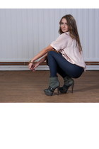 dark khaki Buffalo boots - blue H&M leggings - peach blouse
