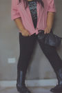 Pink-banana-republic-cardigan-black-moschino-shirt-black-bershka-leggings-