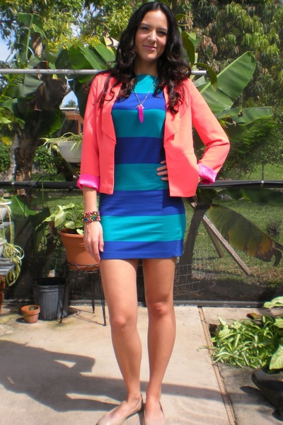 coral hot pink lining Forever 21 blazer - blue Forever 21 dress