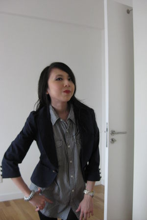 blue Forever 21 blazer - blue padini authentics shirt